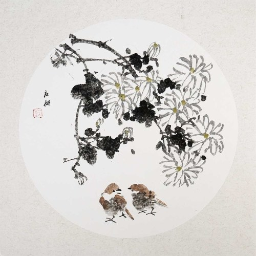Traditional Chinese Painting Chrysanthemum and Sparrow Painting Wall Art for Living Room Bedroom Decor