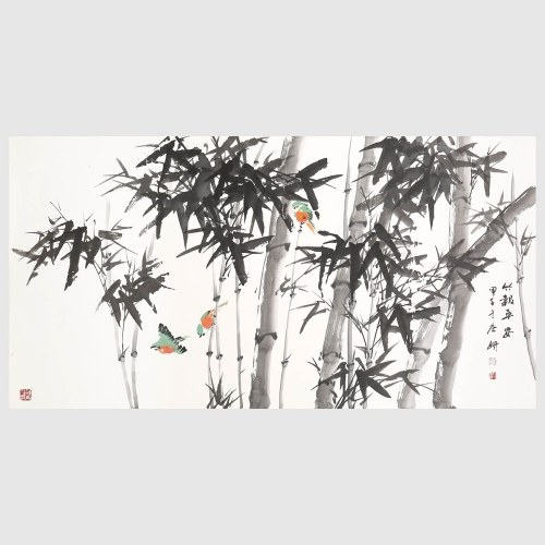 Bamboo Painting Wall Art for Home Decor Birds in Bamboo Forest Chinese Painting of Bamboo Nature Painting Picture Print Home Decoration Gift