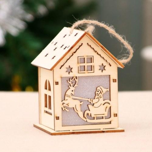 Decoraciones navideñas luminosa casa de madera casa de nieve bar del hotel