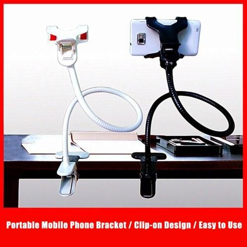 Portable Mobile Phone Bracket Clip-on Smartphone Mount Holder Metal Bracket 360° Rotation Design