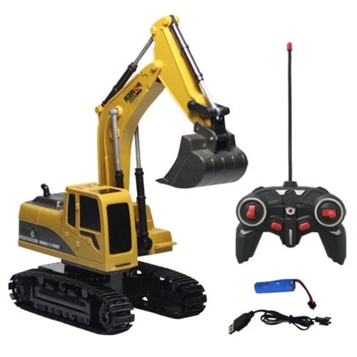 6-channel Alloy Excavator 1:24 Wireless Remote Control Excavating Simulation Remote Control Engineering Vehicle