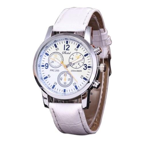 Reloj de cuarzo de moda de cinturón de doble cara al por mayor de negocios, estudiante de Ginebra, reloj de cuarzo de seis ojos y seis pines para hombre, blanco