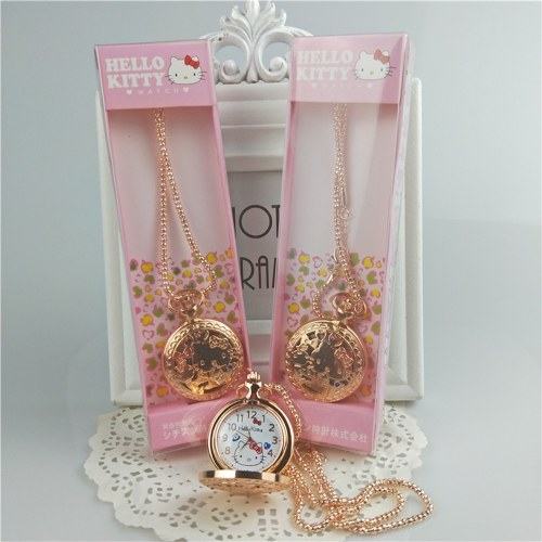 Hello kitty cat necklace hollow pocket watch