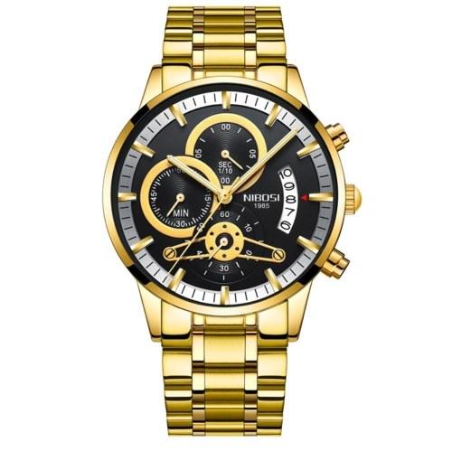 2309 nuevo NIBOSI, correa de acero sólido, reloj para hombre, revestimiento impermeable, cristal luminoso, tres ojos, reloj de cuarzo de 6 clavijas Todos