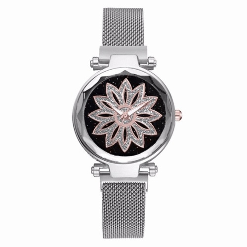 Fashionanle Stylish Casual Flower Starry Dial Face Women Watch Wristwatch with Magnet Strap Band