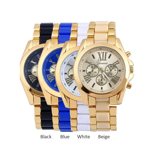 Luxury Business Two Tone Unisex Watch Vintage Retro Alloy Wristwatch for Men Women with Three Sub-dials Stainless Steel Strap Band фото
