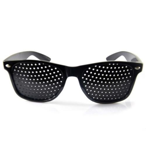 Petits trous Sténopé Lunettes Anti-fatigue Vision améliorée Lunettes de correction pour l'exercice des yeux Noir