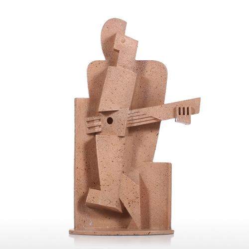 Músico creativo decoración del hogar Textura de piedra arenisca Sentimiento artesanía Resumen Escultura de personaje Muebles de sala de estar