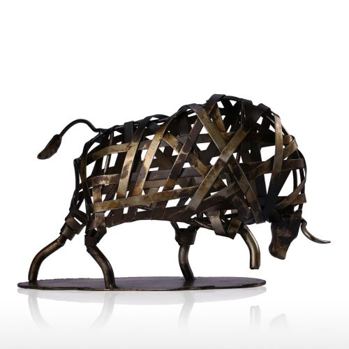 Tooarts Metal Sculpture Iron Braided Cattle Home Furnishing Articles Handmade Crafts
