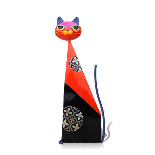 Tooarts Metal sculpture  Fortune cat sculpture (Red)   Home furnishing articles   Handicrafts