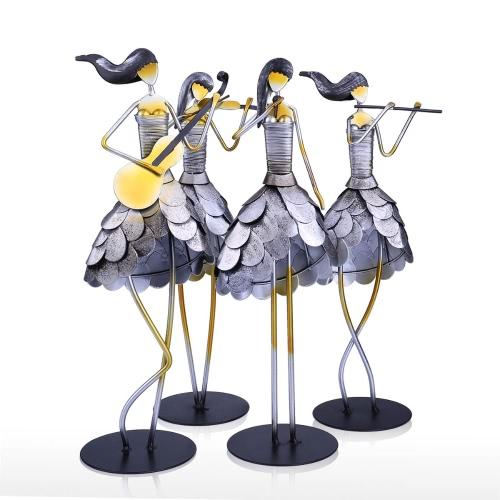 Игра флейта Девушка Металл скульптуры Ремесленная Домашнее украшение Creatvie Украшение окружающей среды Краска ручной работы