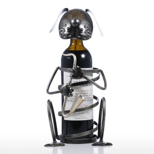 Estante para vino de perrito con saxofón Figurita de animal de hierro Estante para vino creativo Práctico regalo de artesanía de ornamento