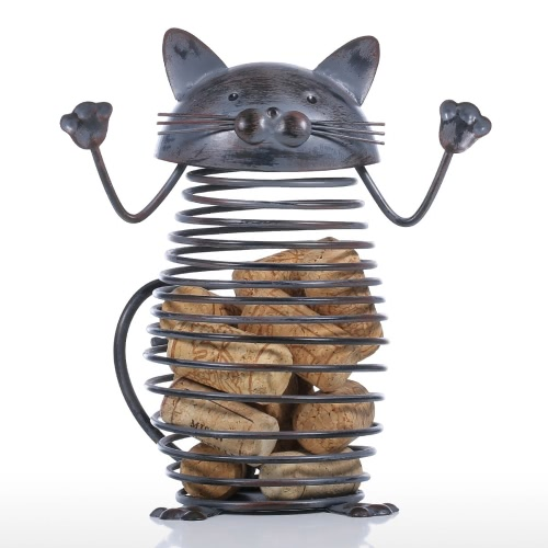 Spring Cat Cork Container Iron Sculpture Cat Figurine Creative Cork Container Practical Ornament Craft Gift