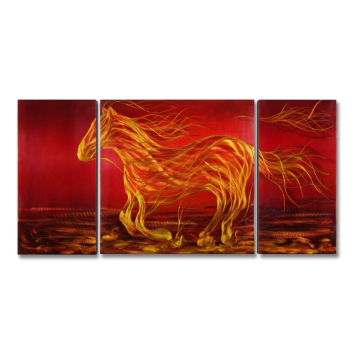Tooarts Running Horse Modern Malerei Wand Kunst Home Decoration 3 Panels Red & Black & Yellow