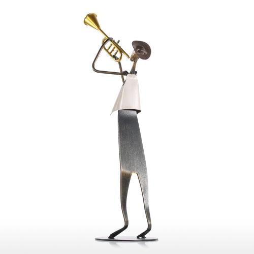 Cowboy Band / Trumpet Music Trompeta Jugando Metal Escultura De Hierro Artesanal Baking Paint Tecnología