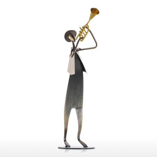 Cowboy Band / Trumpet Music Trumpet Playing Metal Iron Sculpture Handmade Baking Paint Technology