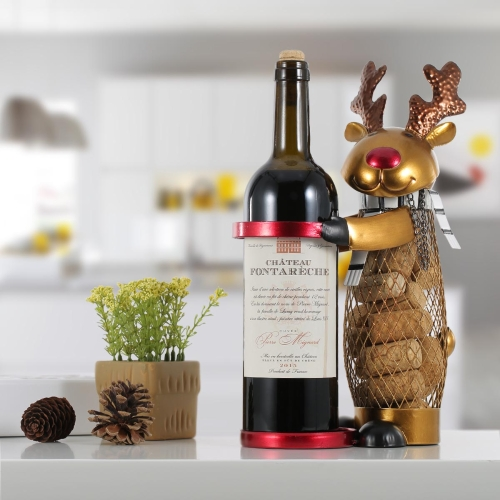Netted Christmas Elk Wine Rack Animal Wine Holder Cork Container Métal Artisanat Artisanat Home Decor