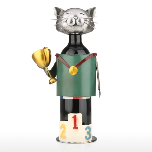 Champion Cat Weinhalter Vintage Pickup Cat Weinflaschenhalter Statue oder dekoratives Weinregal
