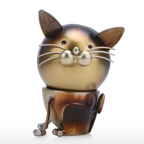 Tooarts Cat fun Ornament Iron Art Decor Handmade Craft Rotating Head desmontable Decoración para el hogar y el escritorio Regalo perfecto para amantes de gatos y animales