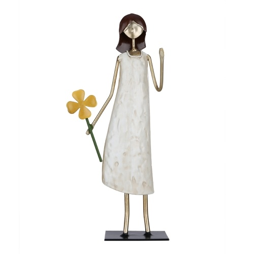 Tooarts Girl Statue Holding Flower Girl Iron Art Decoration Modern Ornament for Living Room Cabinet and Desk Gift of Vitality and Hope