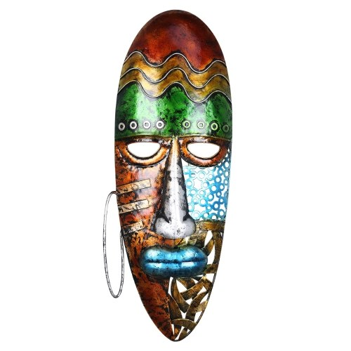 Tooarts African Face Mask Art Wall Hanging Iron Mask Decorazione murale