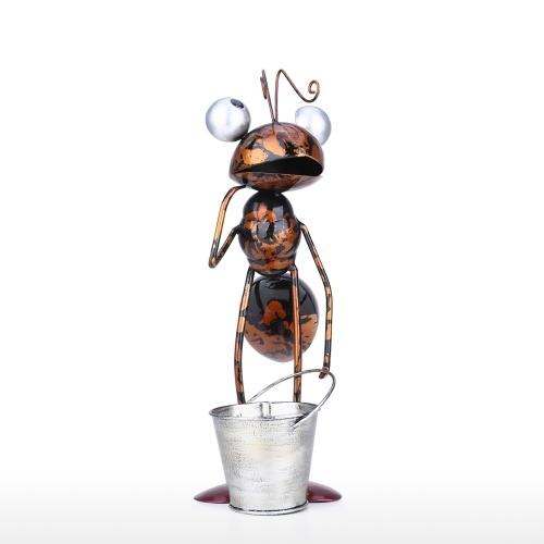 Tooarts 13inch Ant Sculpture Iron Cartoon Ant With Removable Bucket Garden or Desk Decor Succulent Flower Pot Trinket Storage