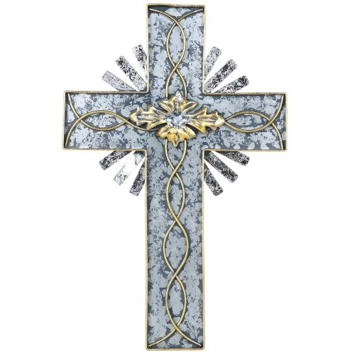 Tooarts Holy Light Cross Hanging Art Wall Decor Decorative Silver Foil and Foliage Antique Iron Hanging Home Decor Collectible Gift (15.1inches)