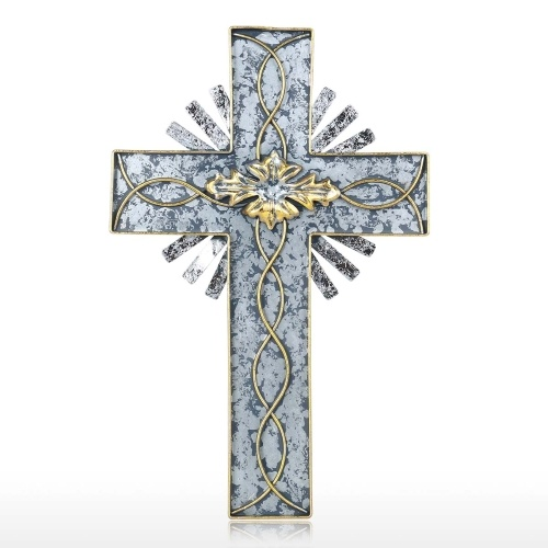 Tooarts Holy Light Cross Hanging Art Decoración de la pared Lámina de plata decorativa y follaje Hierro antiguo Colgante Decoración para el hogar Regalo coleccionable (15.1 pulgadas)