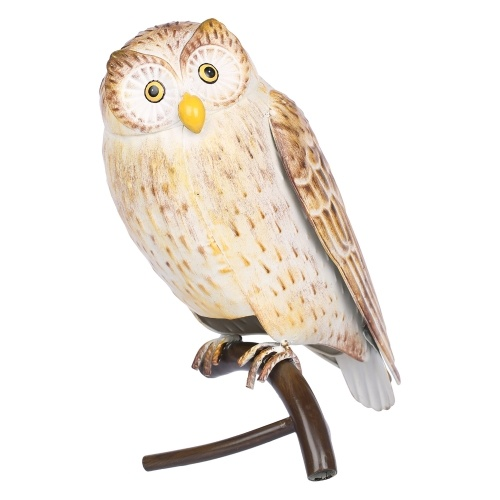 Tomfeel Iron Owl Sculpture Metal Animal Sculpture Owl Crafts Home Desk Decoration Garden Decoration Yellow