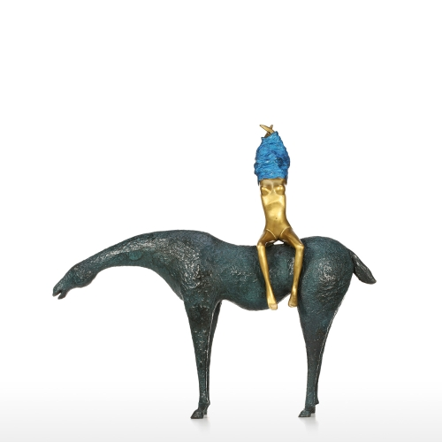 A Girl and Horse Bronze Sculpture Abstract Sculpture Art Decor Sculpture Home Decoration Indoor Living Room Coffee Table TV Cabinet Office Desk Wedding Gifts