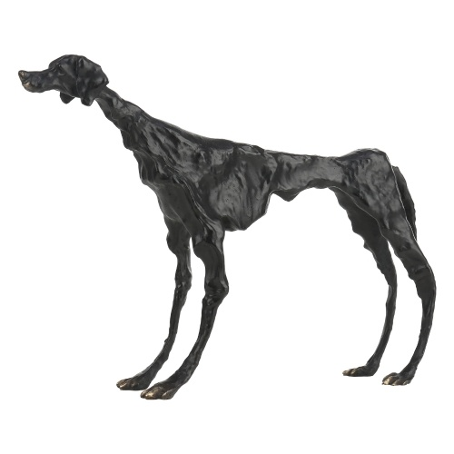 Tooarts Dog Tribute to Giacometti Brass Dog Sculpture Exquisite Handicraft Home and Office Ornament Modern Art Figurine Collection Gift Black