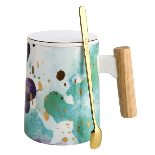 Tooarts Mug with Lid Ceramic Tea Cup Coffee Cup Large-capacity Mug with Wooden Handle 304 Steel Spoon Gift Packaging Cups for Office Staff or Home Using 3 Styles