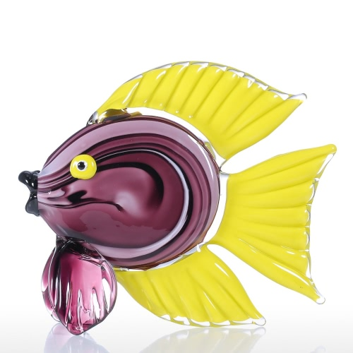 Tooarts Yellow Tropical Fish Glass Sculpture Home Decor Animal Ornament Gift Craft Decoration