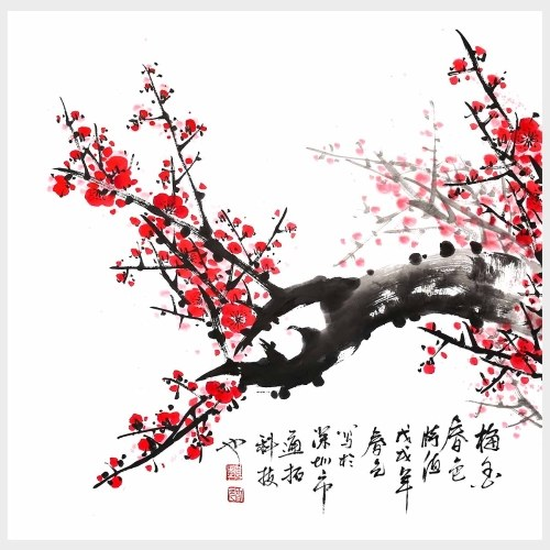 Traditional Chinese Painting Plum Blossom The Beauty of Spring Wall Art Ready to Hang for Living Room For Wall Decor Home Decoration
