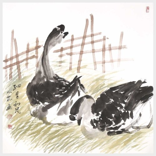 The Grass and Breeze Gooses Playing on the Lawn Wall Art Hanging Artwork Print Pictures for Home Office Decor