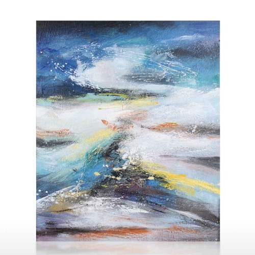 Waves Oil Painting Hand Painted on Canvas Abstract Artwork for Living Room Home Office Decor
