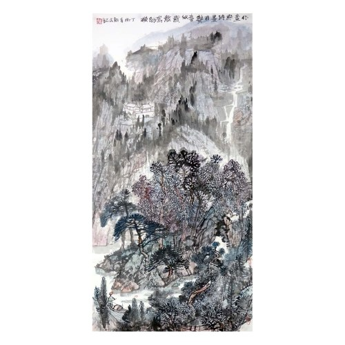 Chunqiu Tu Wall Art Artist Hand-painted Chinese Landscape Painting Cultural Work Home or Office Decor Carefully Package
