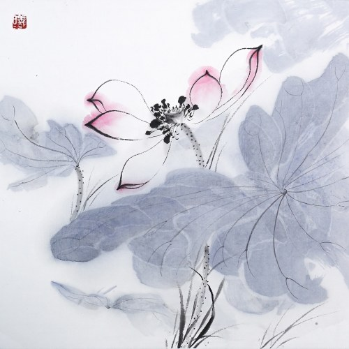 Tooarts Lotus at Sunrise Chinese Painting Wall Art Artist Hand-Painted Chinese Brush Painting Traditional Decoration Home Office Decoration Painting Carefully Packed