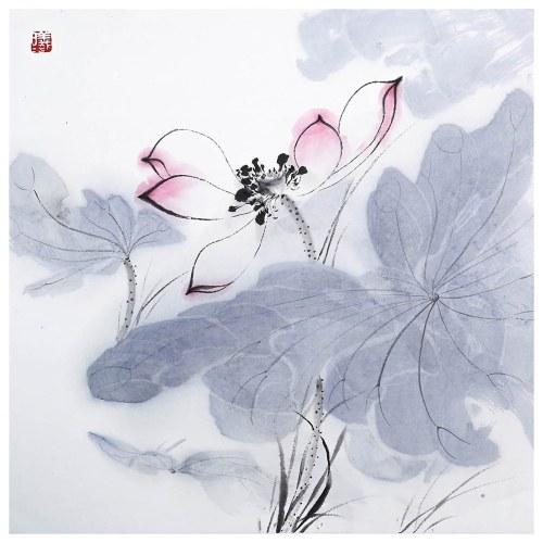 Tooarts Lotus at Sunrise Pintura china Arte de la pared Artista Pintado a mano Pincel chino Pintura Decoración tradicional Decoración de la oficina en casa Pintura Empaque