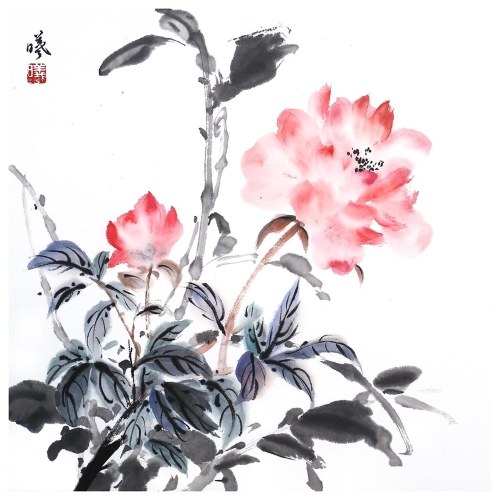 Tooarts Lingering Aroma Chinese Flower Painting Wall Art Artist Hand-Painted Chinese Brush Painting Traditional Decoration Home Office Decoration Painting Carefully Packed