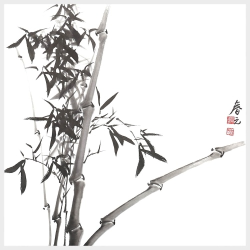 Bamboo Wall Art Chinese Ink Painting Nature Painting Picture Artwork for Wall Decor Ready to Hang