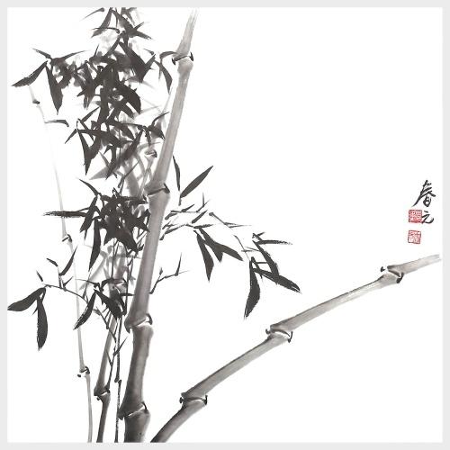 Bambus-Wand-Kunst-Tusche-Malerei-Natur-Malerei-Bild-Grafik für Wand-Dekor bereit zu hängen