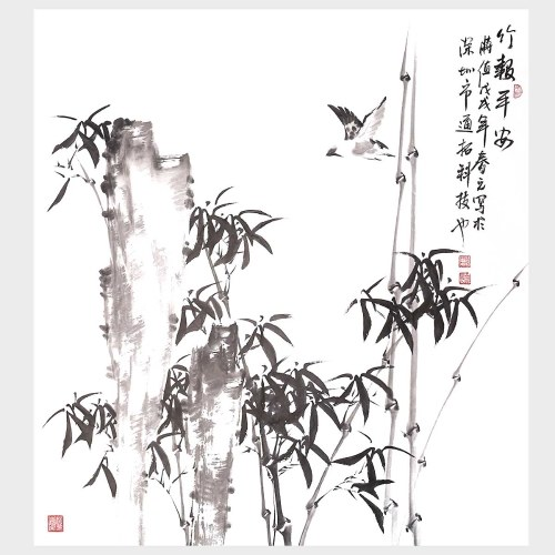 Bamboo Wall Art Chinese Ink Painting Style Nature Painting Picture for Home Decor Decoration Gift
