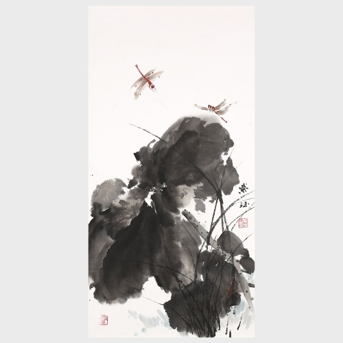 Lotus et libellule peinture traditionnelle chinoise peinture pour chambre salon salle de bain décoration murale