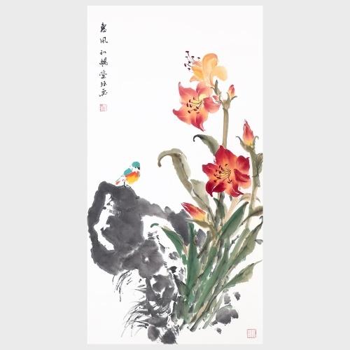 Doux brise fleur et oiseau Home Decor Photos pour chambre Salon Bureau Peinture Photo