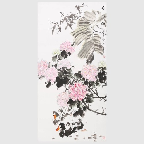 Breeze and Flowers Traditional Chinese Painting Wall Art for Office Modern Home Decor Hanging Artwork