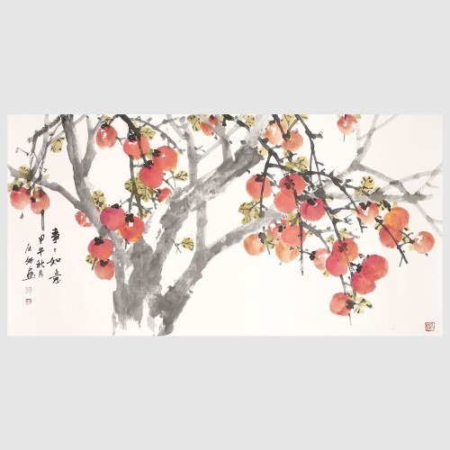 Ripe Persimmon Fruit Painting Prints Art Wall Decor Chinese Freehand Ink Painting 100% Hand-painted Home Decor