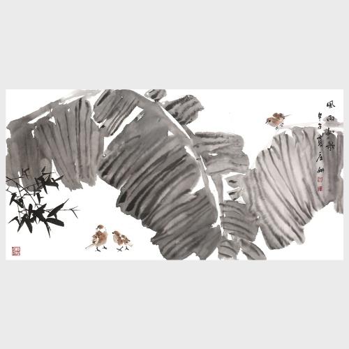 Chansons sinueuses et pluvieuses Feuille de bananier Bambou Oiseau Peinture Art Naturel Mur Décoration Paysage oeuvre