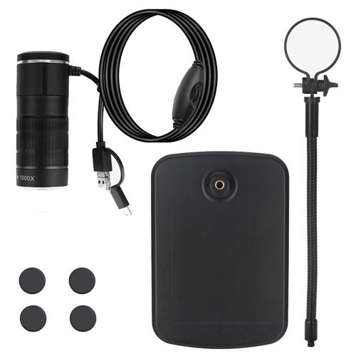 3つの一体型携帯電話顕微鏡typeC Androidコンピューターデジタル顕微鏡子供顕微鏡AN104黒