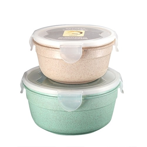 Wheat Straw Sealed Bowl Food Fruit Container Rice Soup Holder